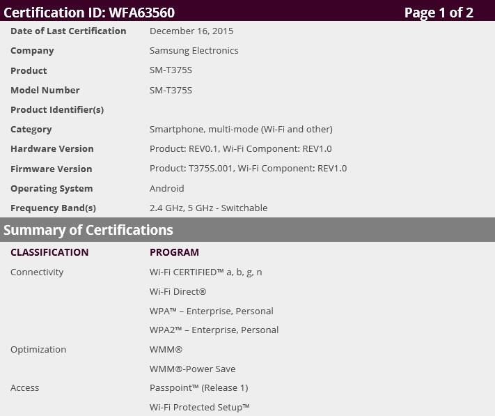 Samsung Galaxy Tab SM-375S Wi-fi certified